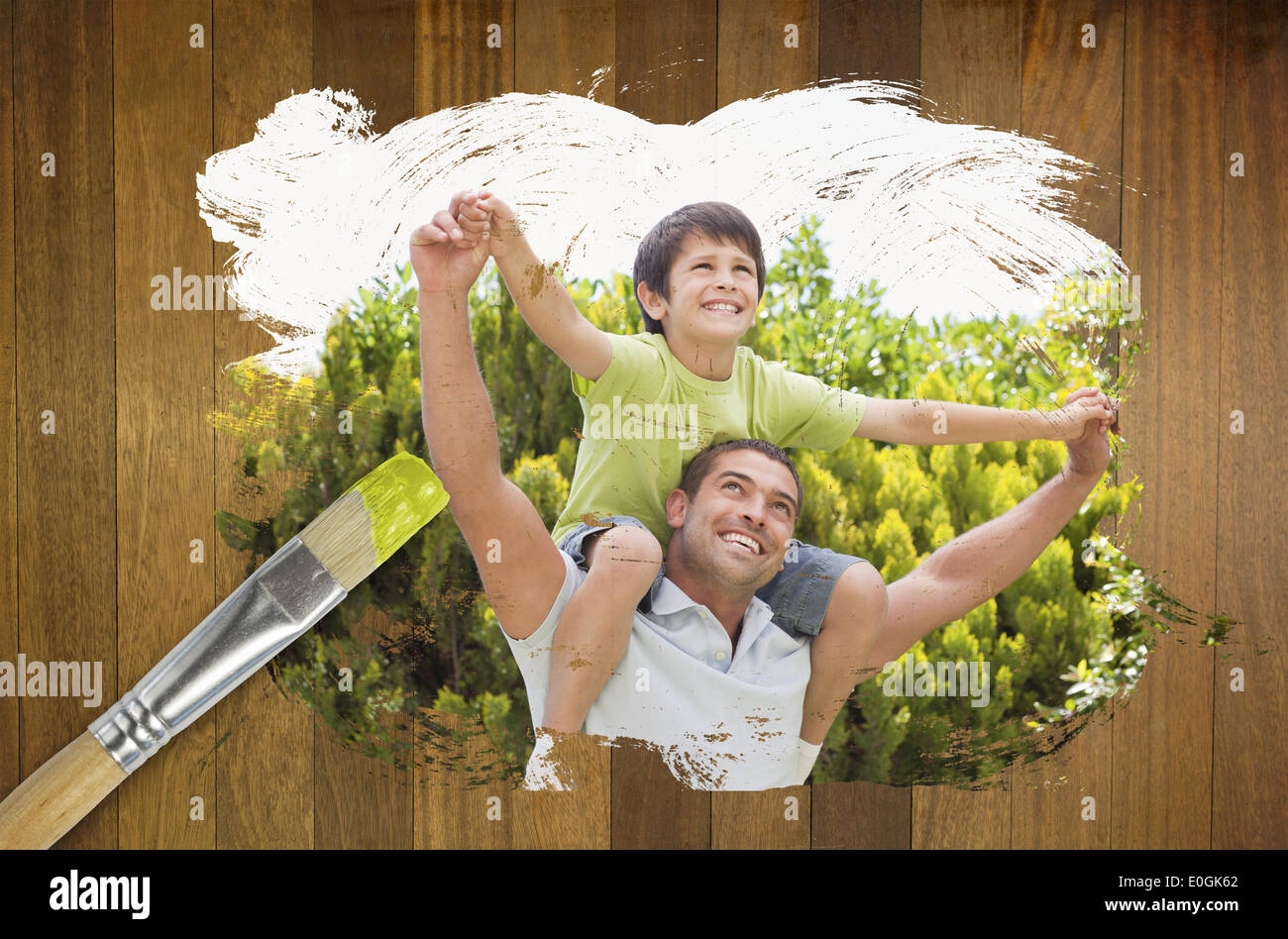 Composite image of father and son in the park - Stock Image