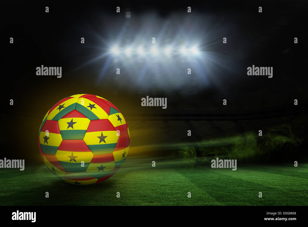 Football in ghana colours - Stock Image
