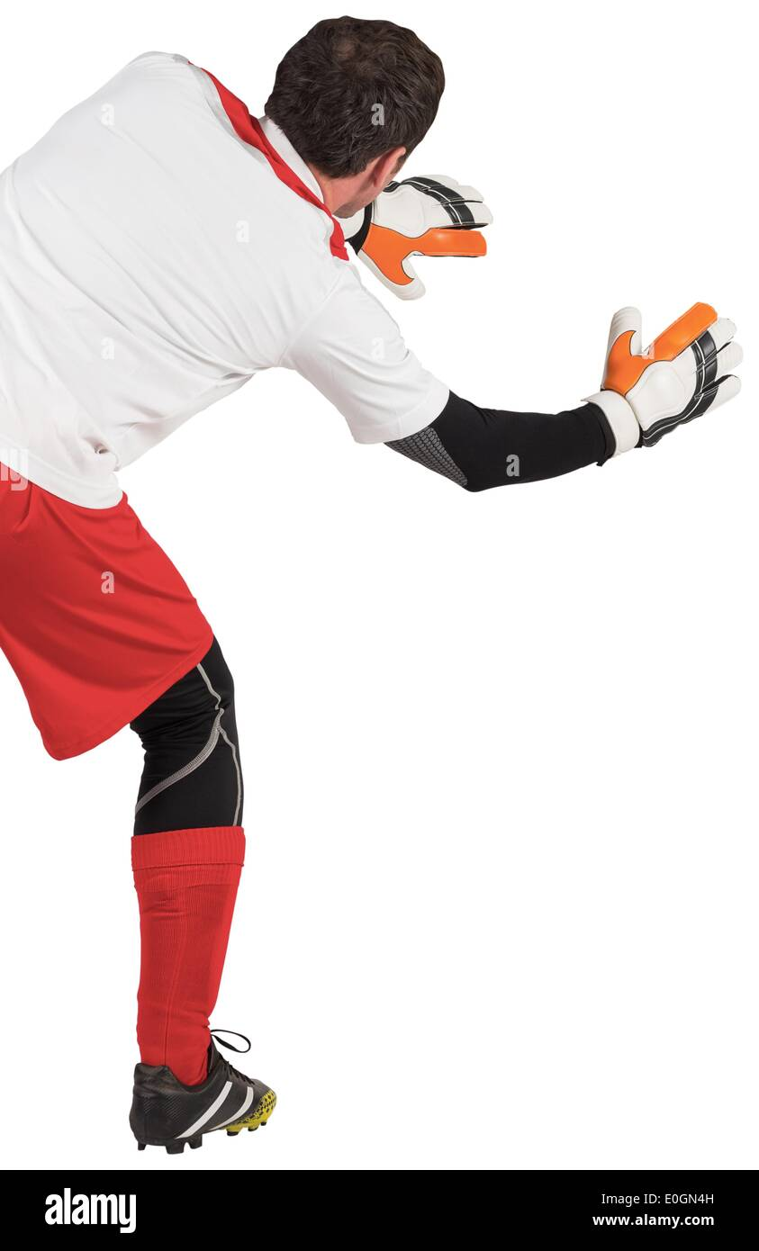Goalkeeper with arms ready to catch - Stock Image