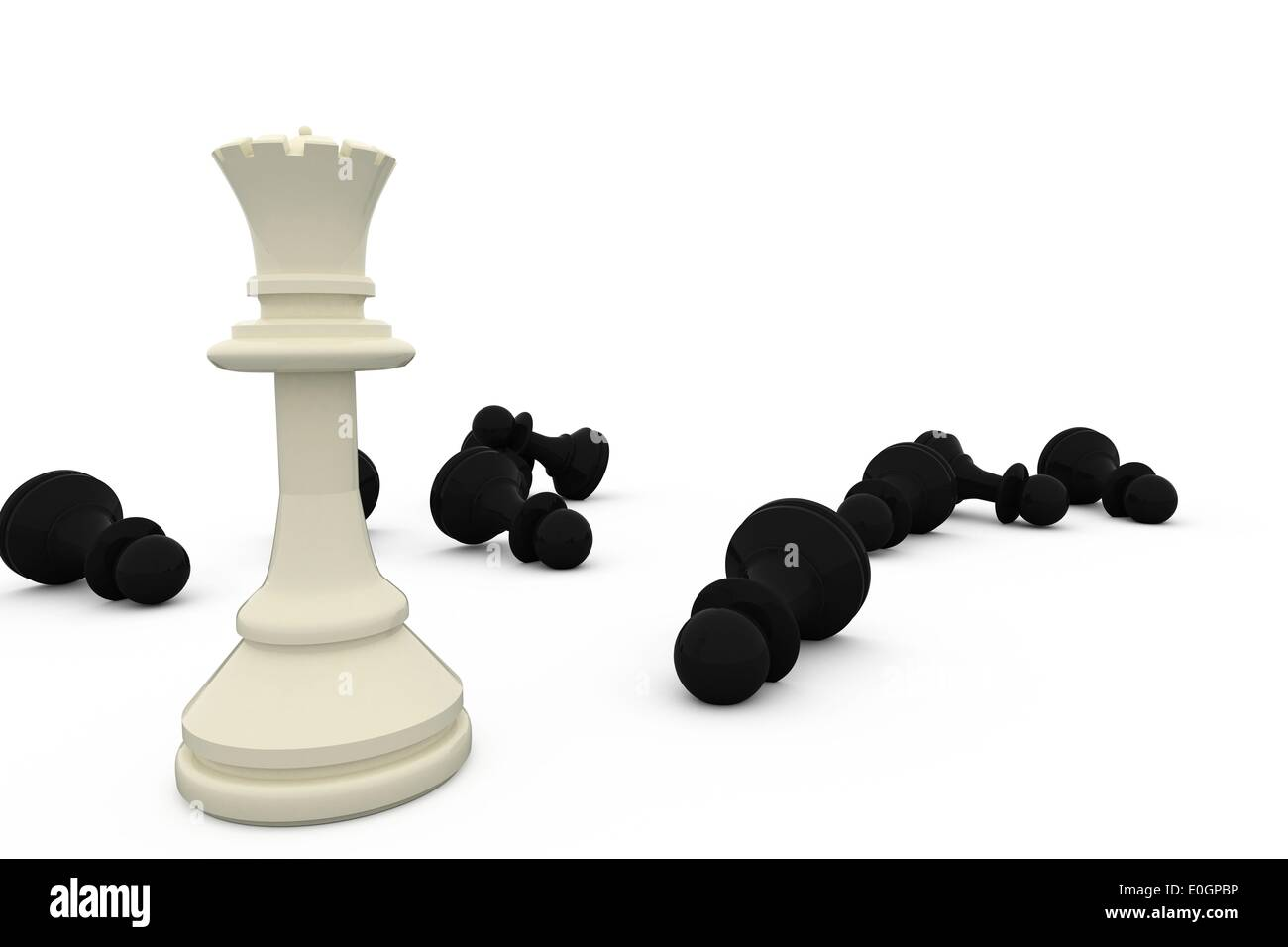 White queen standing among fallen black pieces - Stock Image