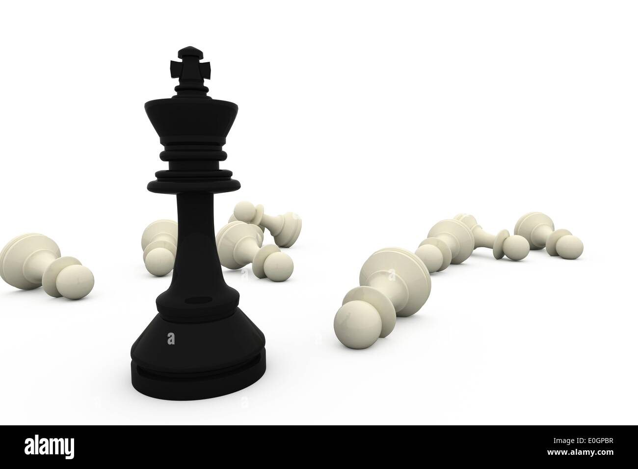 Black king standing among fallen white pieces - Stock Image