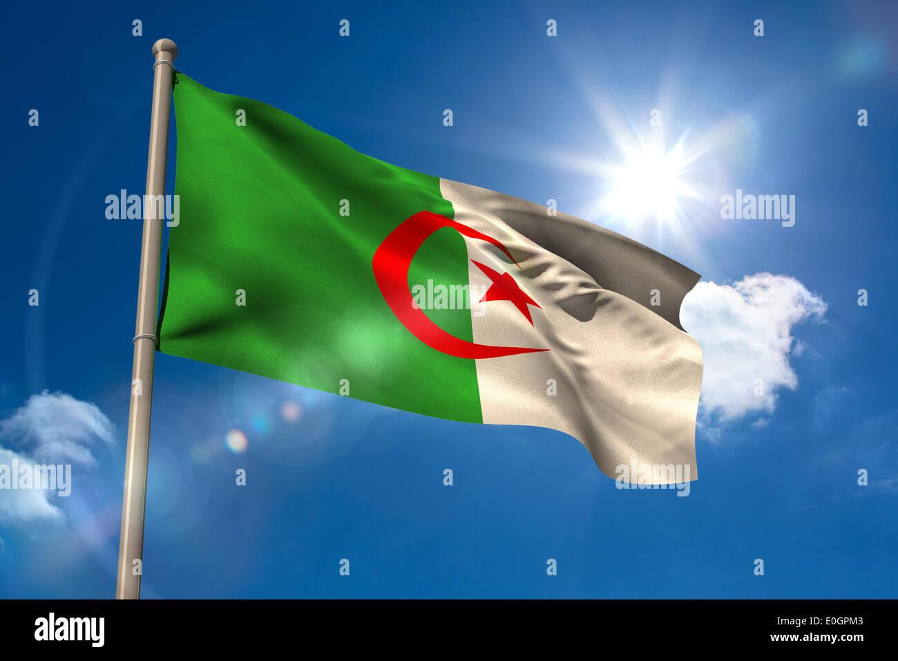 Algeria national flag on flagpole - Stock Image