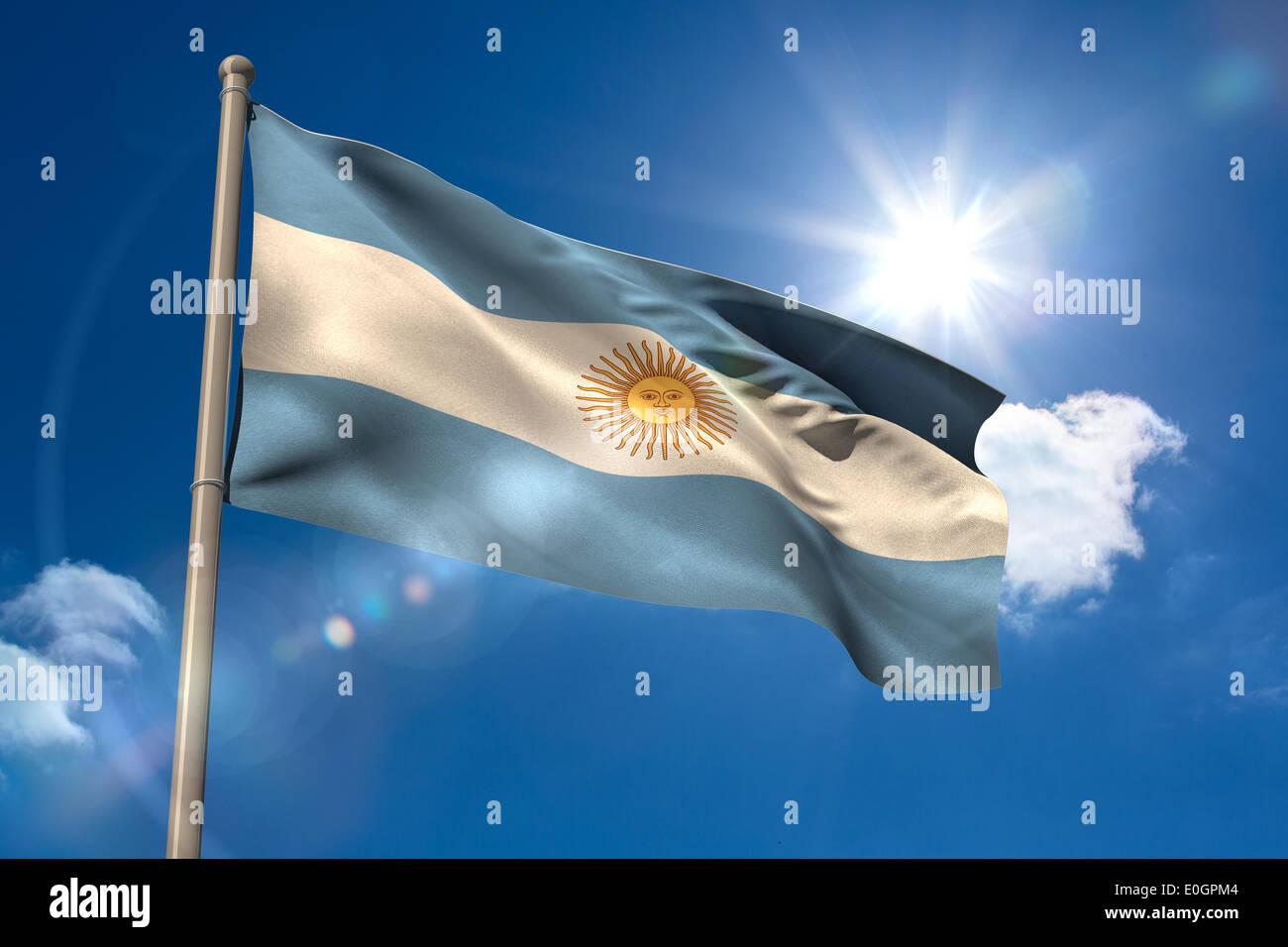 Argentina national flag on flagpole - Stock Image