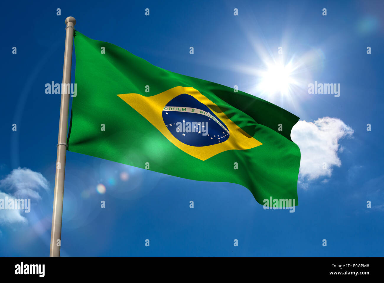 Brazil national flag on flagpole - Stock Image