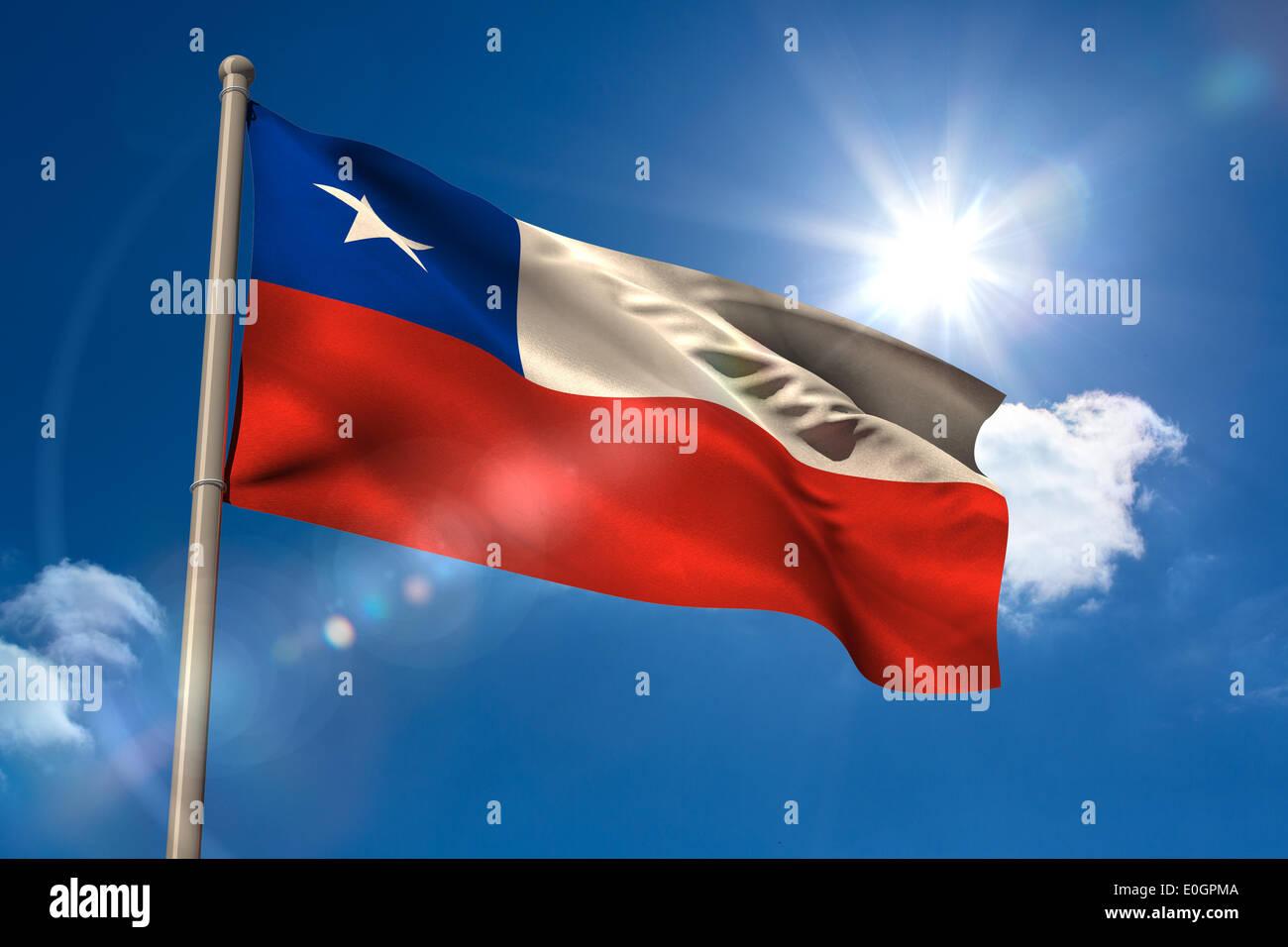 Chile national flag on flagpole - Stock Image