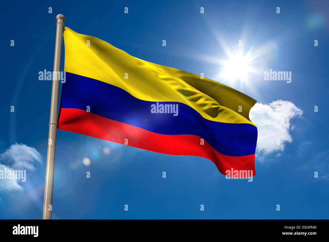 Colombia national flag on flagpole - Stock Image