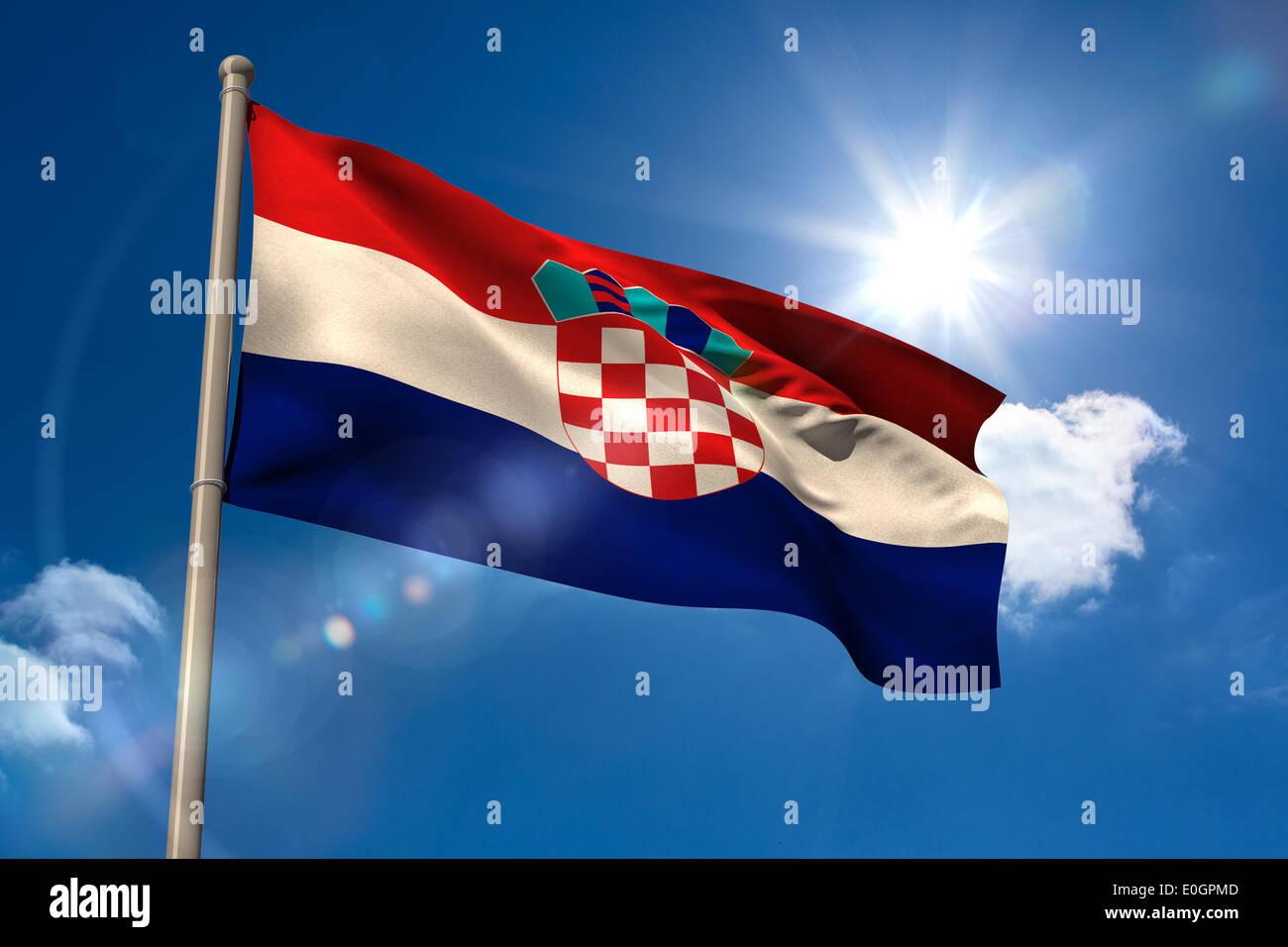 Croatia national flag on flagpole - Stock Image