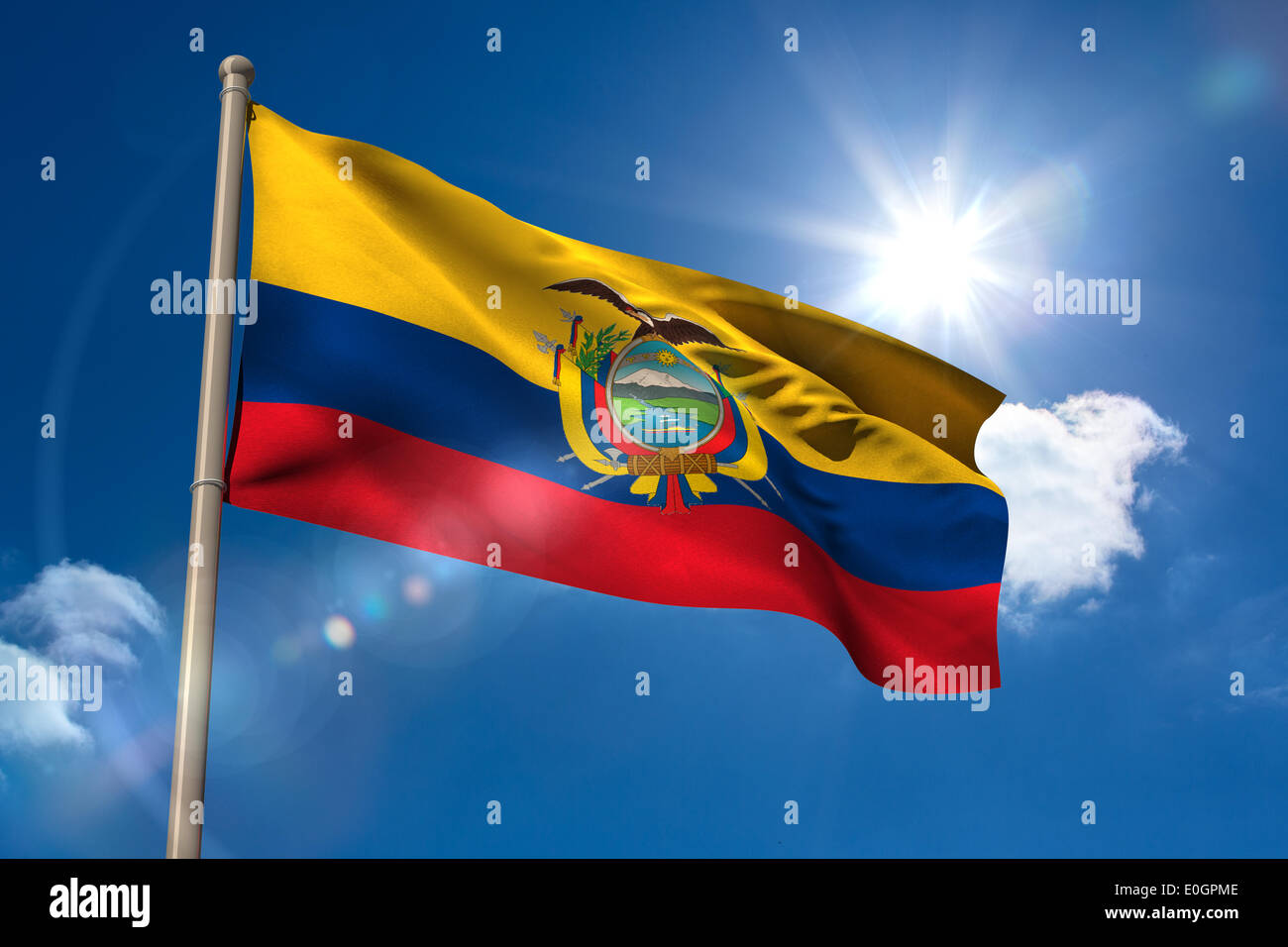 Ecuador national flag on flagpole - Stock Image