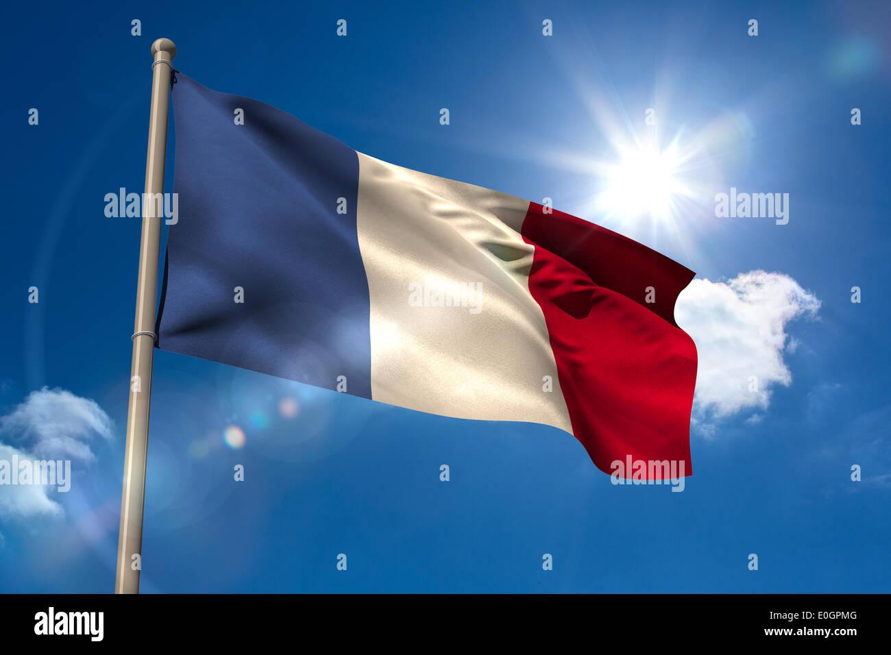 France national flag on flagpole - Stock Image