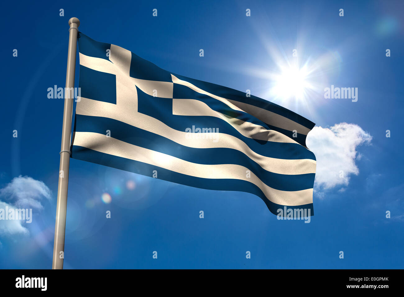 Greece national flag on flagpole - Stock Image