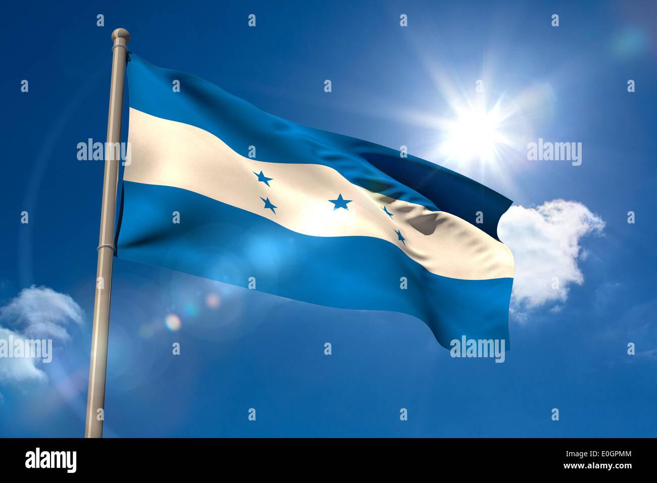Honduras national flag on flagpole - Stock Image