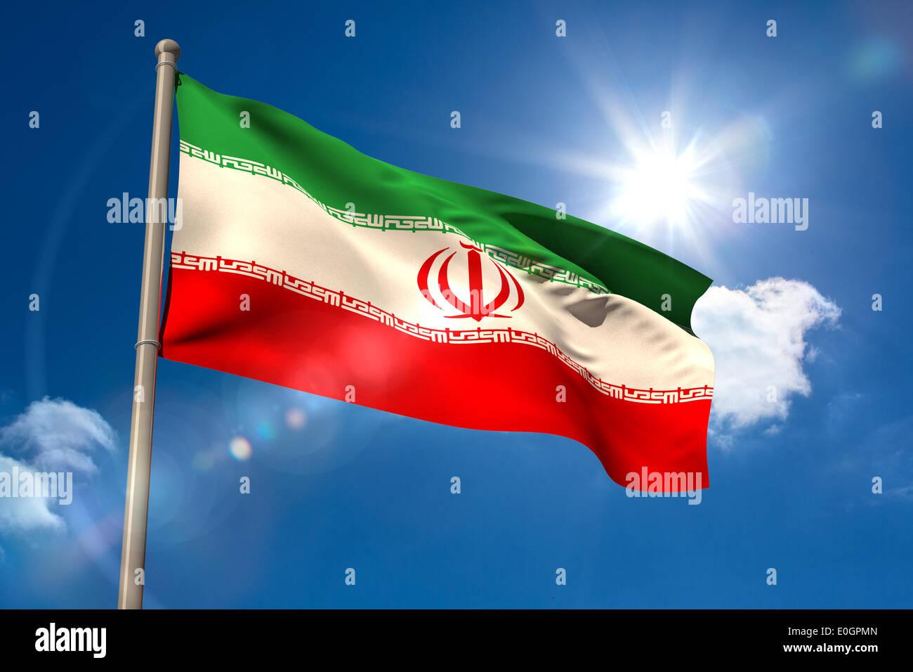 Iran national flag on flagpole - Stock Image