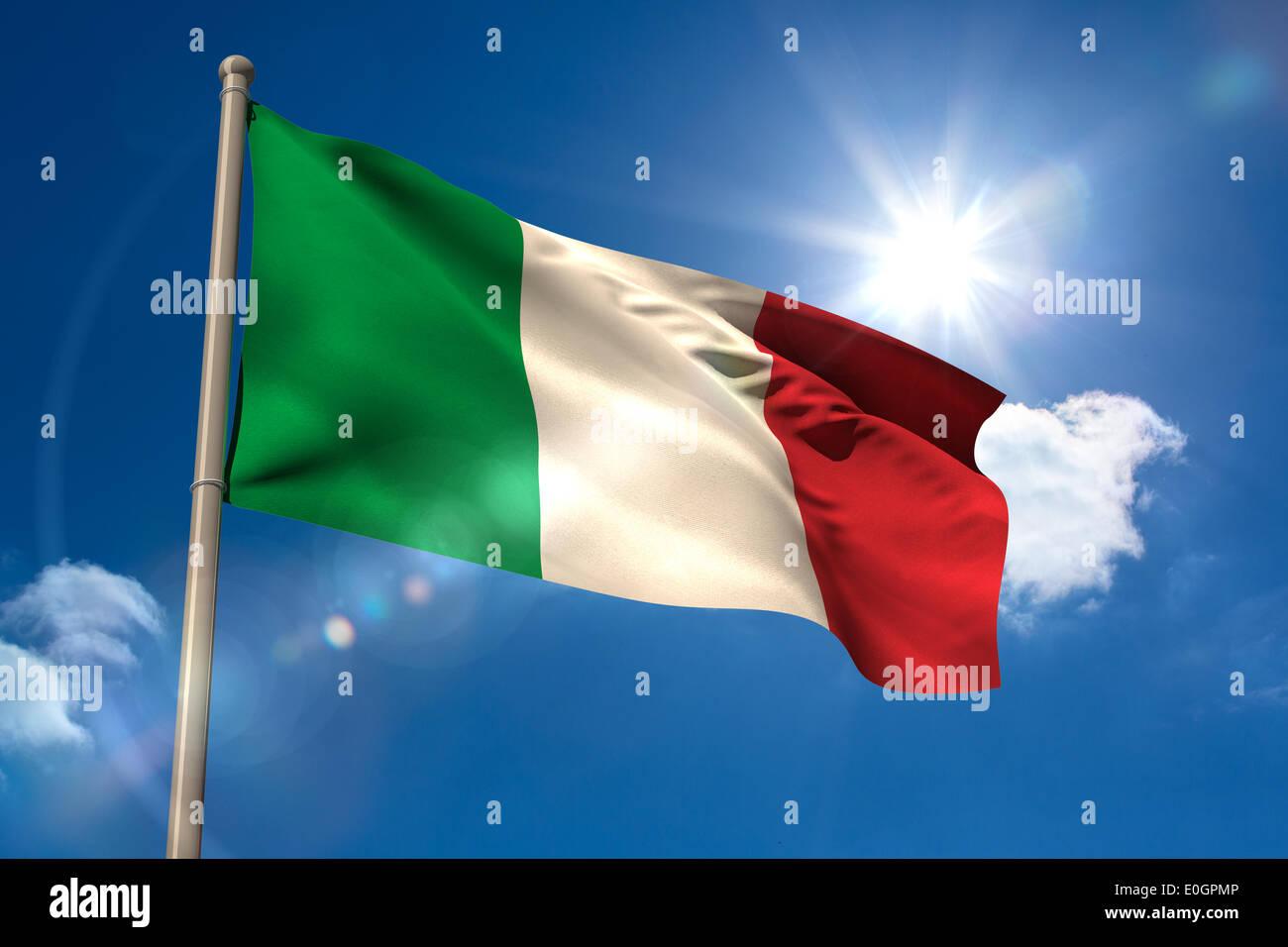Italy national flag on flagpole - Stock Image