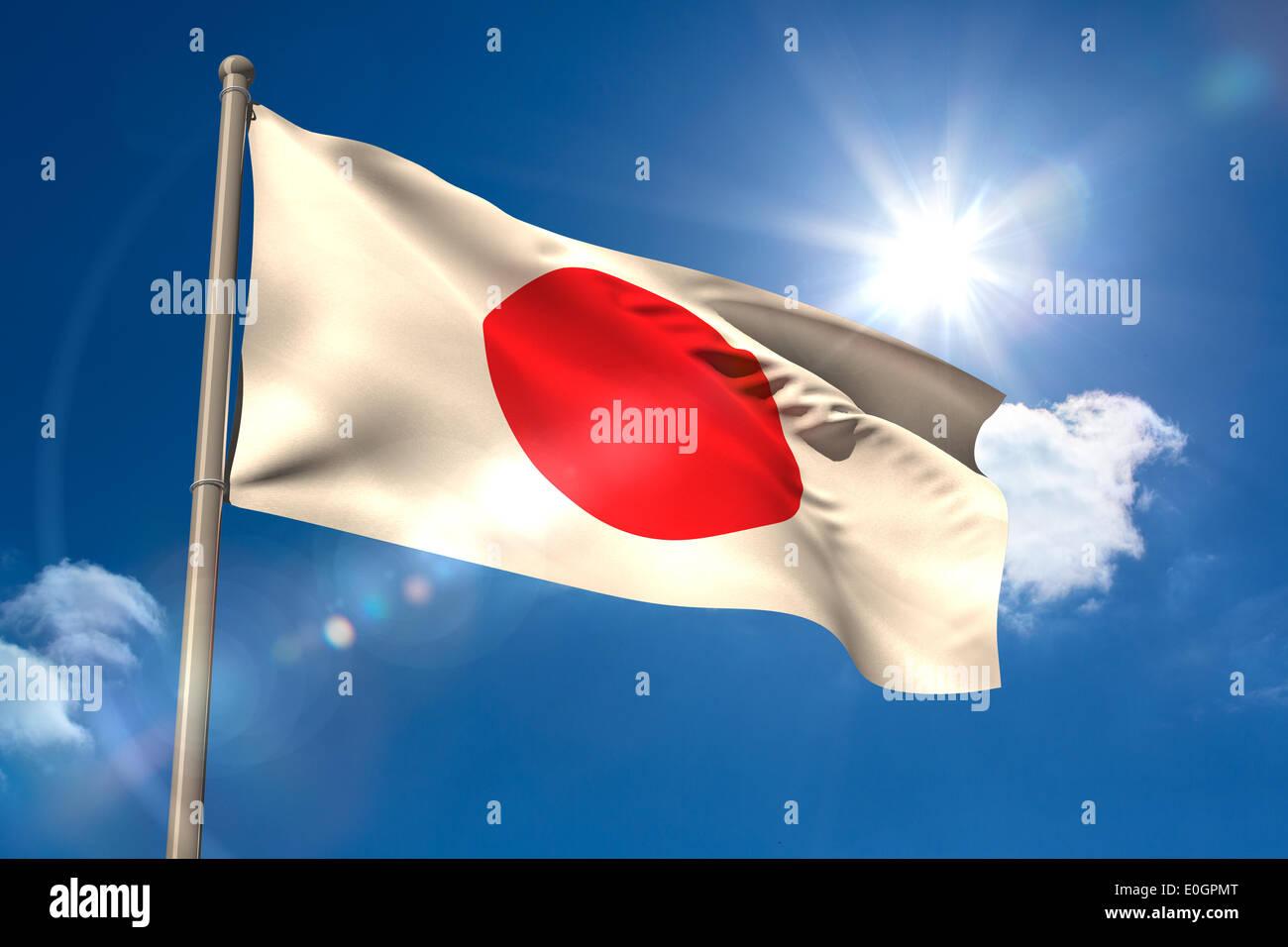 Japan national flag on flagpole - Stock Image