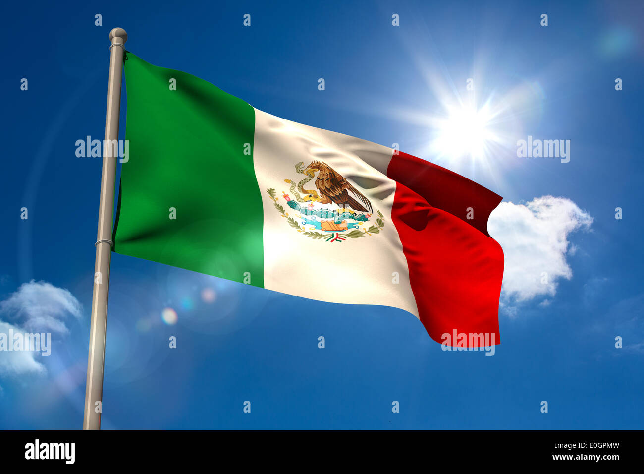 Mexico national flag on flagpole - Stock Image