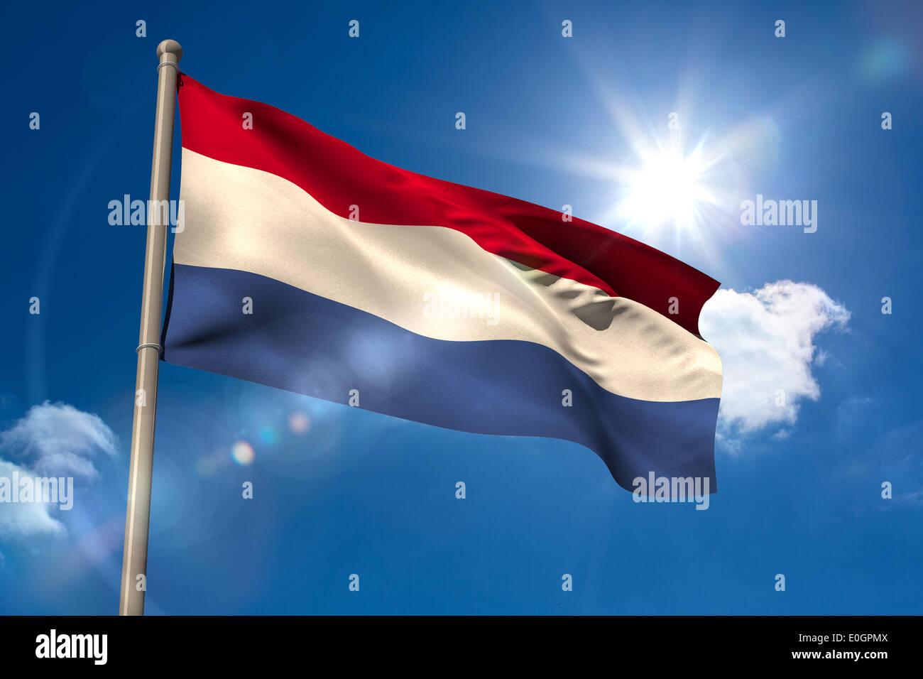 Netherlands national flag on flagpole - Stock Image