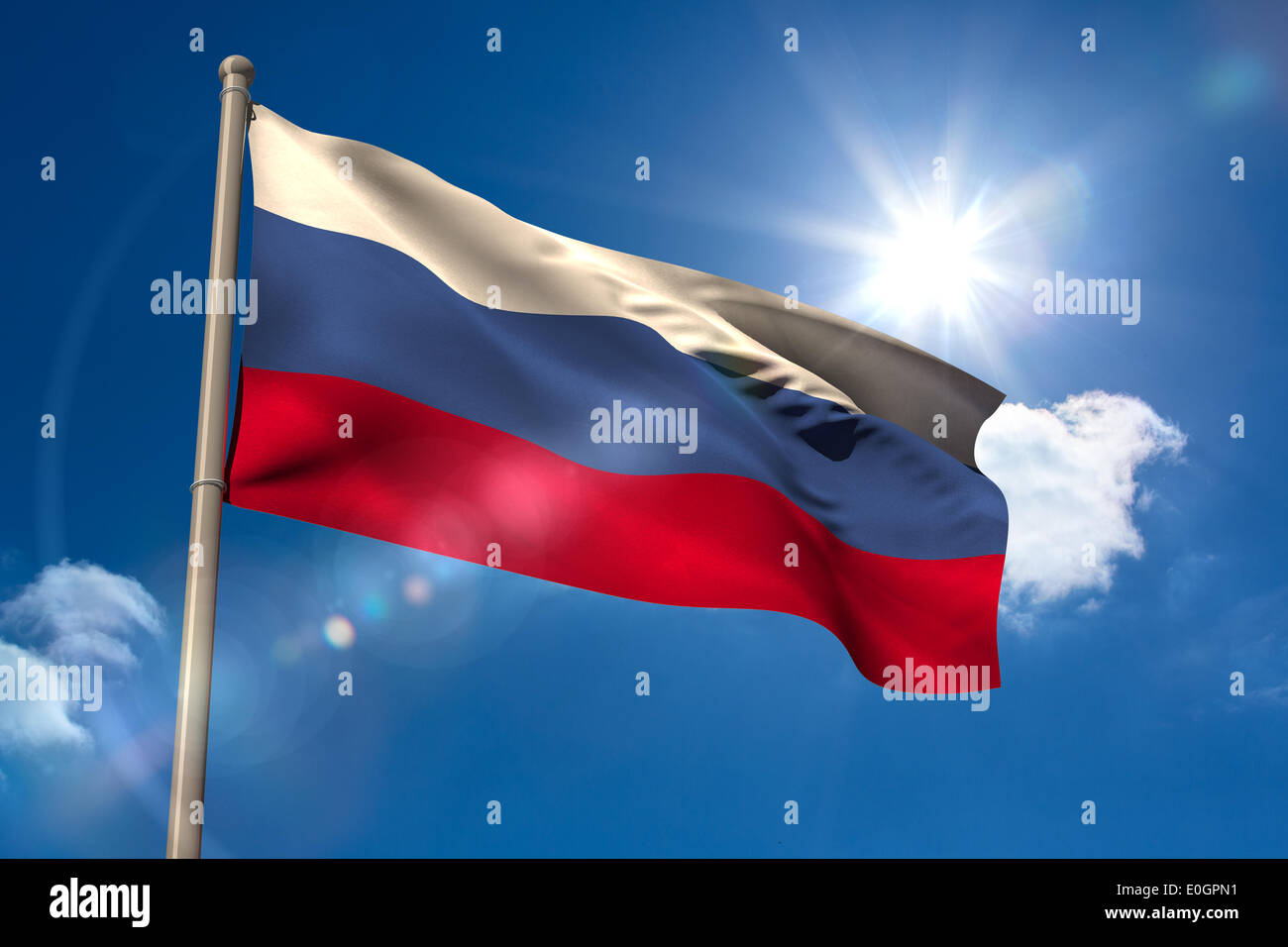 Russia national flag on flagpole - Stock Image