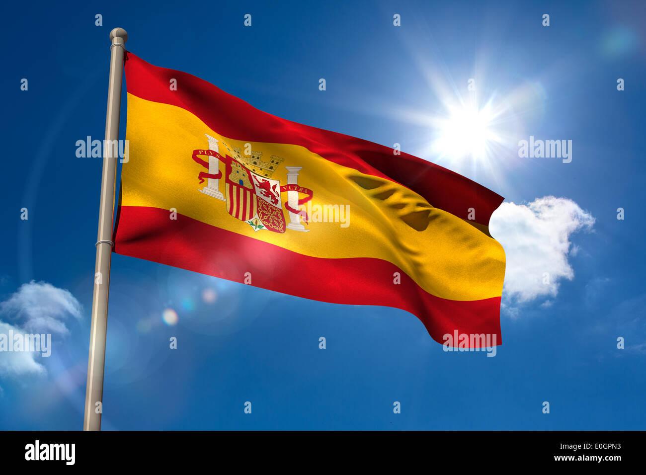 Spain national flag on flagpole - Stock Image