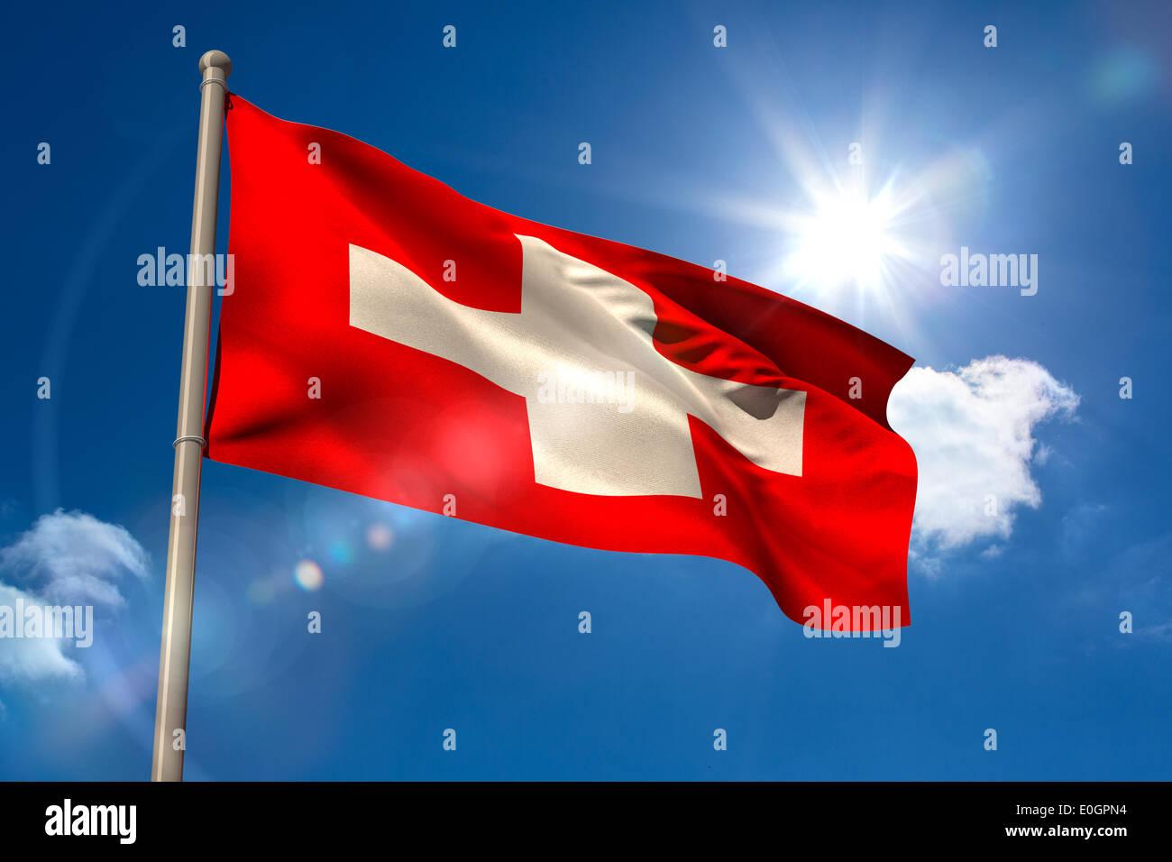 Swiss national flag on flagpole - Stock Image