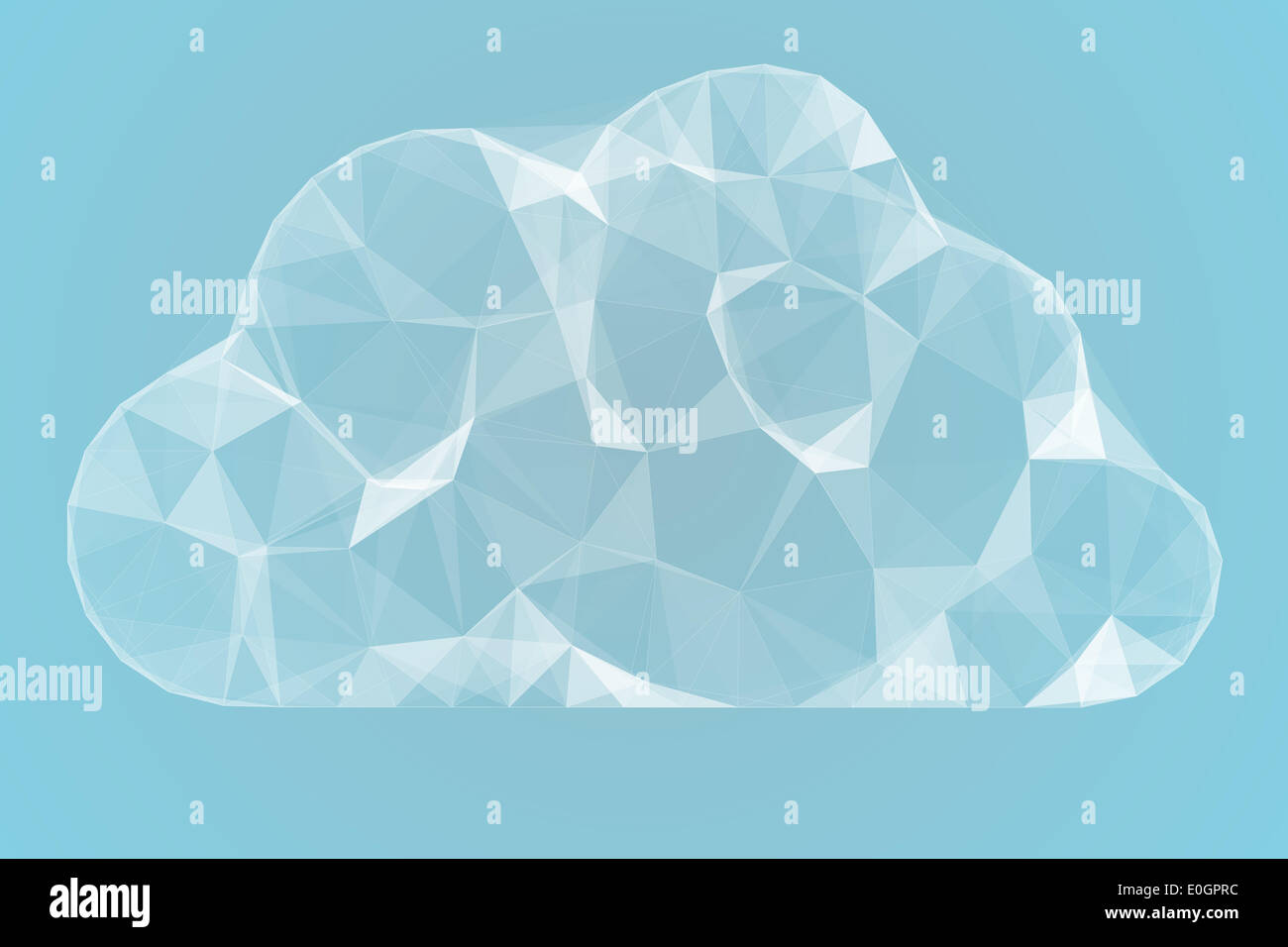 Angular cloud design in white - Stock Image