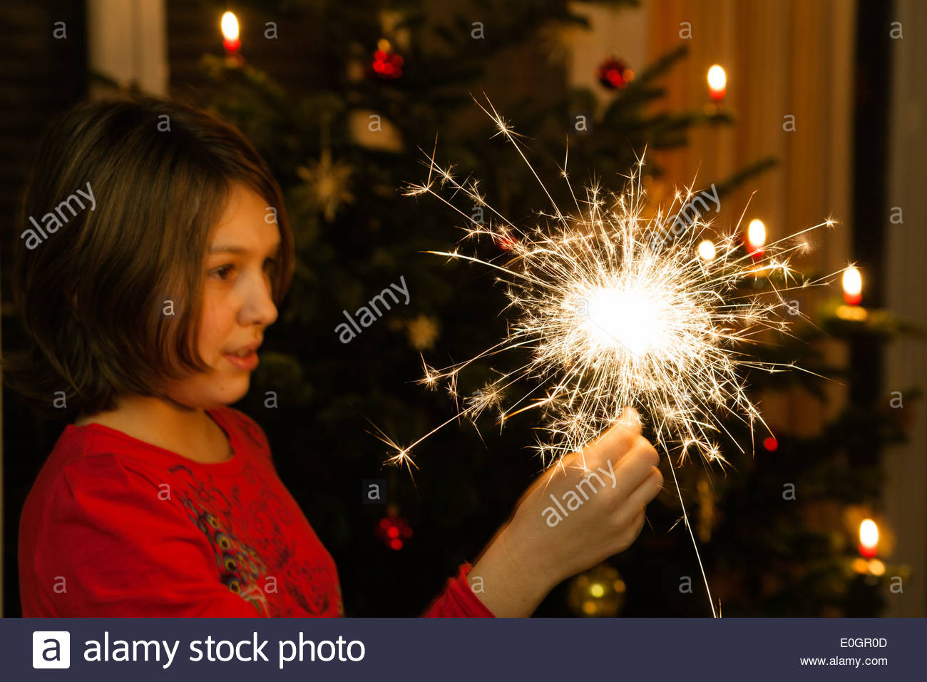 Girl holding a sparkler, christmas tree in background, Bavaria, Germany - Stock Image
