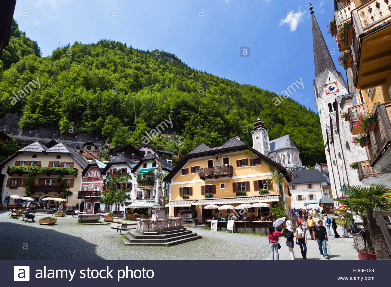 Market Place of Hallstatt with the church Christuskirche at the Hallstatt lake, Salzkammergut, Alps, Upper Austria, Austria, Eur - Stock Image