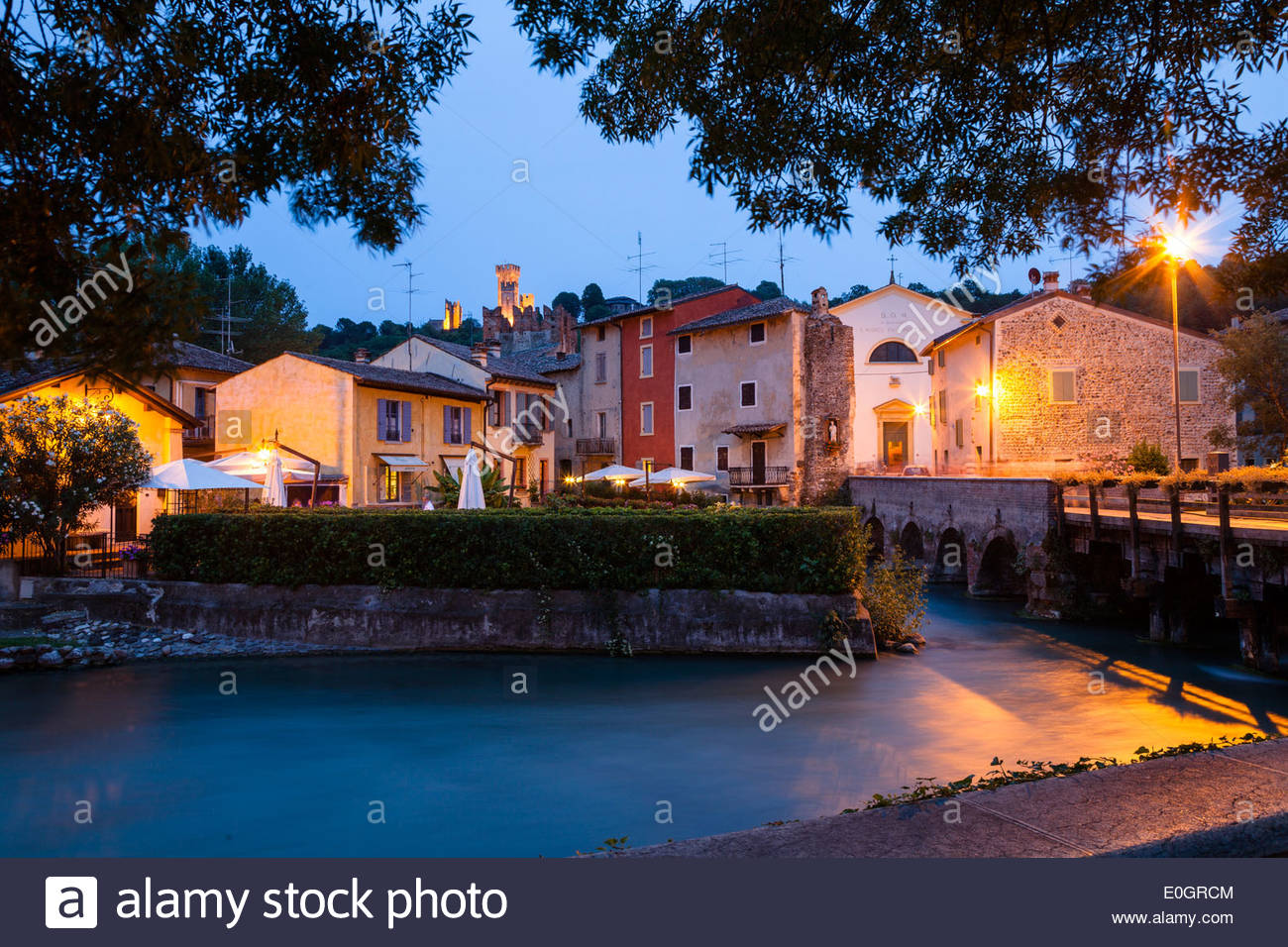Borghetto at dusk, Valeggio sul Mincio, Veneto, Italy Stock Photo