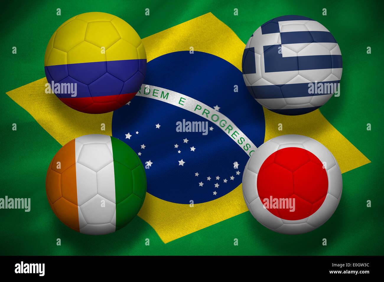 Group c world cup footballs Stock Photo