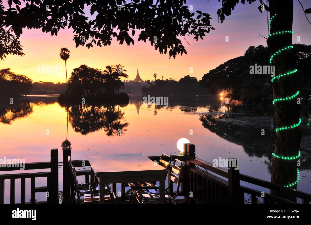 View on the Shwedagon Pagoda from Kandawgyi lake, Yangon, Myanmar, Burma, Asia Stock Photo