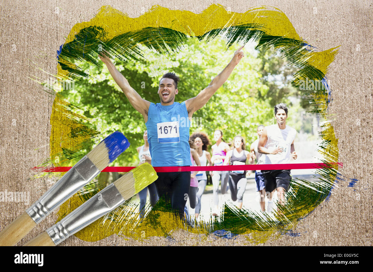 Composite image of racer crossing finishing line - Stock Image