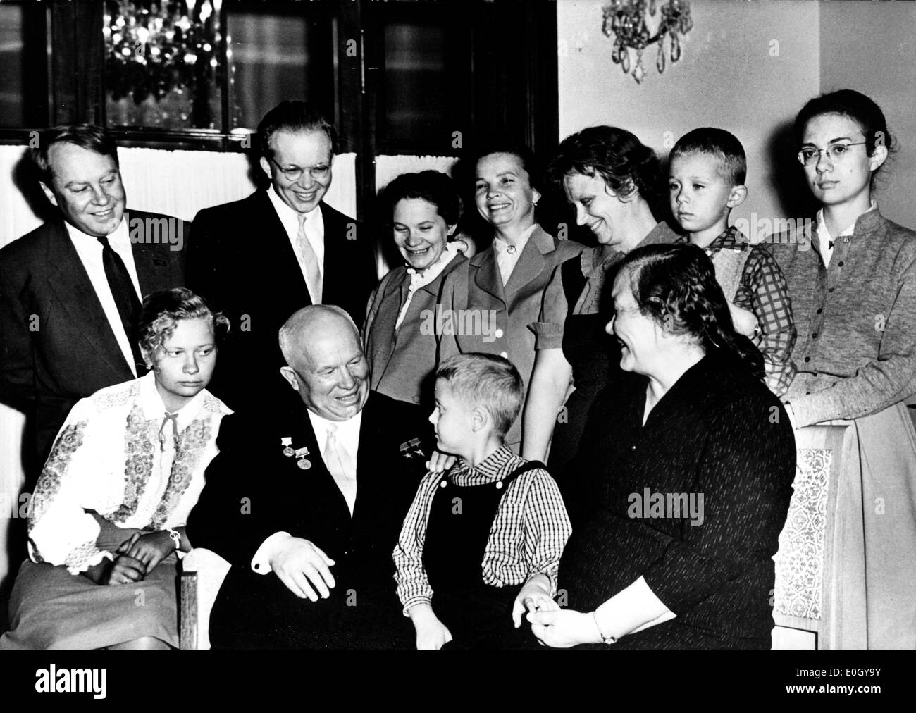 Nikita Kruschev and his family in Paris - Stock Image