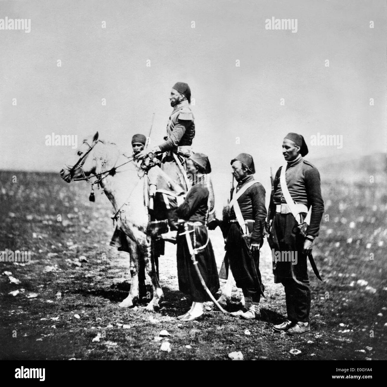 Dynastic successors of Egypt Ismail Pasha with military staff during Crimean War - Stock Image