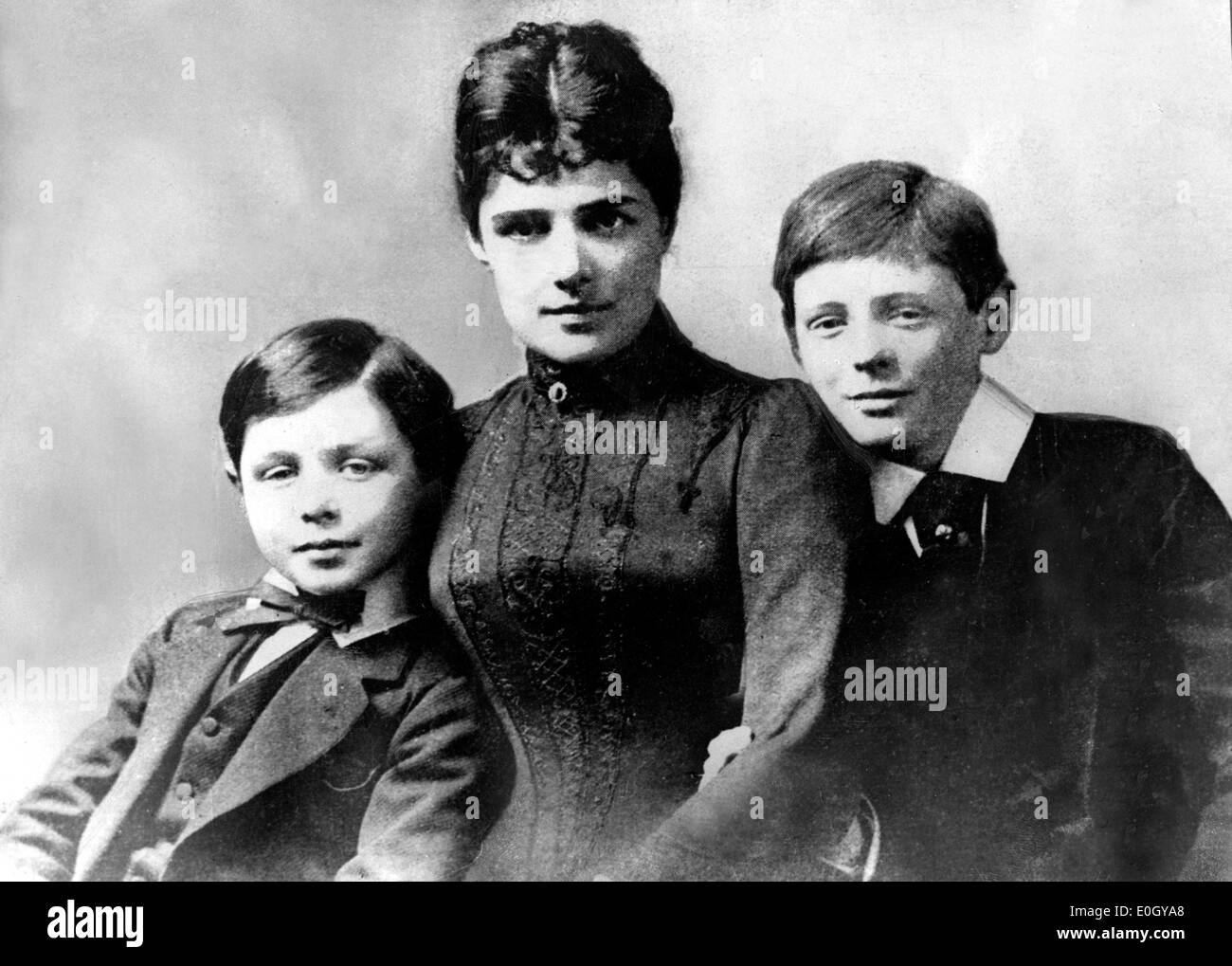 Sir Winston Churchill with mother Jennie Jerome and brother John Strange Churchill - Stock Image