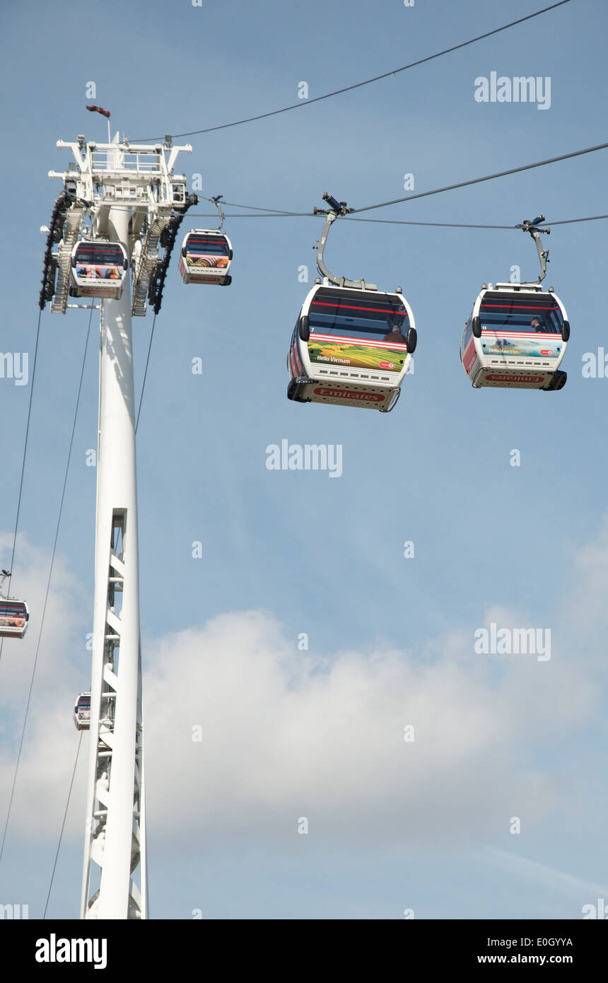 Emirates Airline Cable Car over the River Thames, Greenwich Peninsula, London Stock Photo