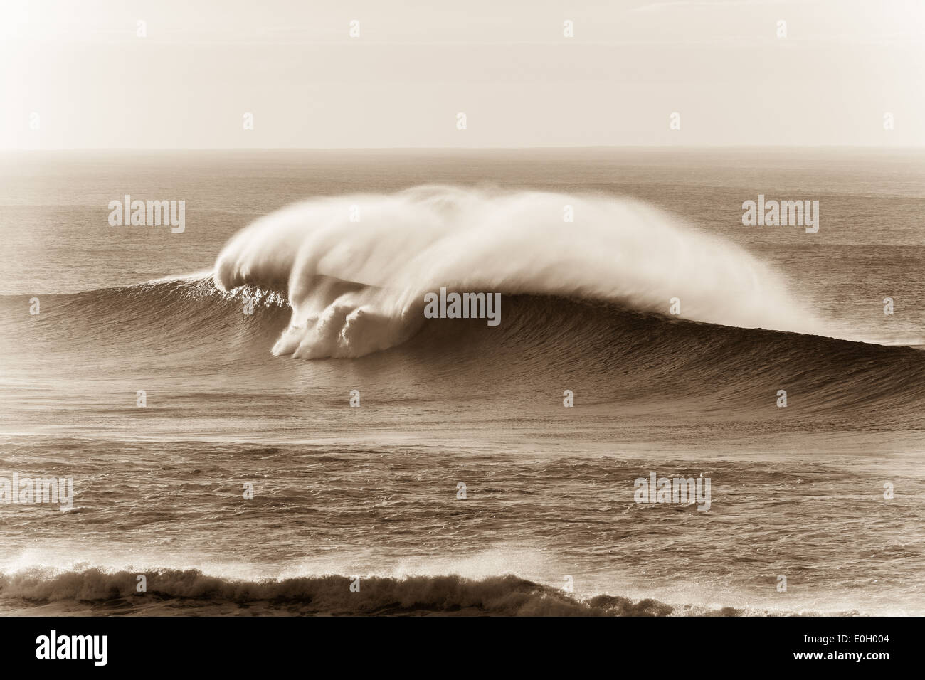 Ocean wave large crashing water swell in vintage black white sepia. - Stock Image