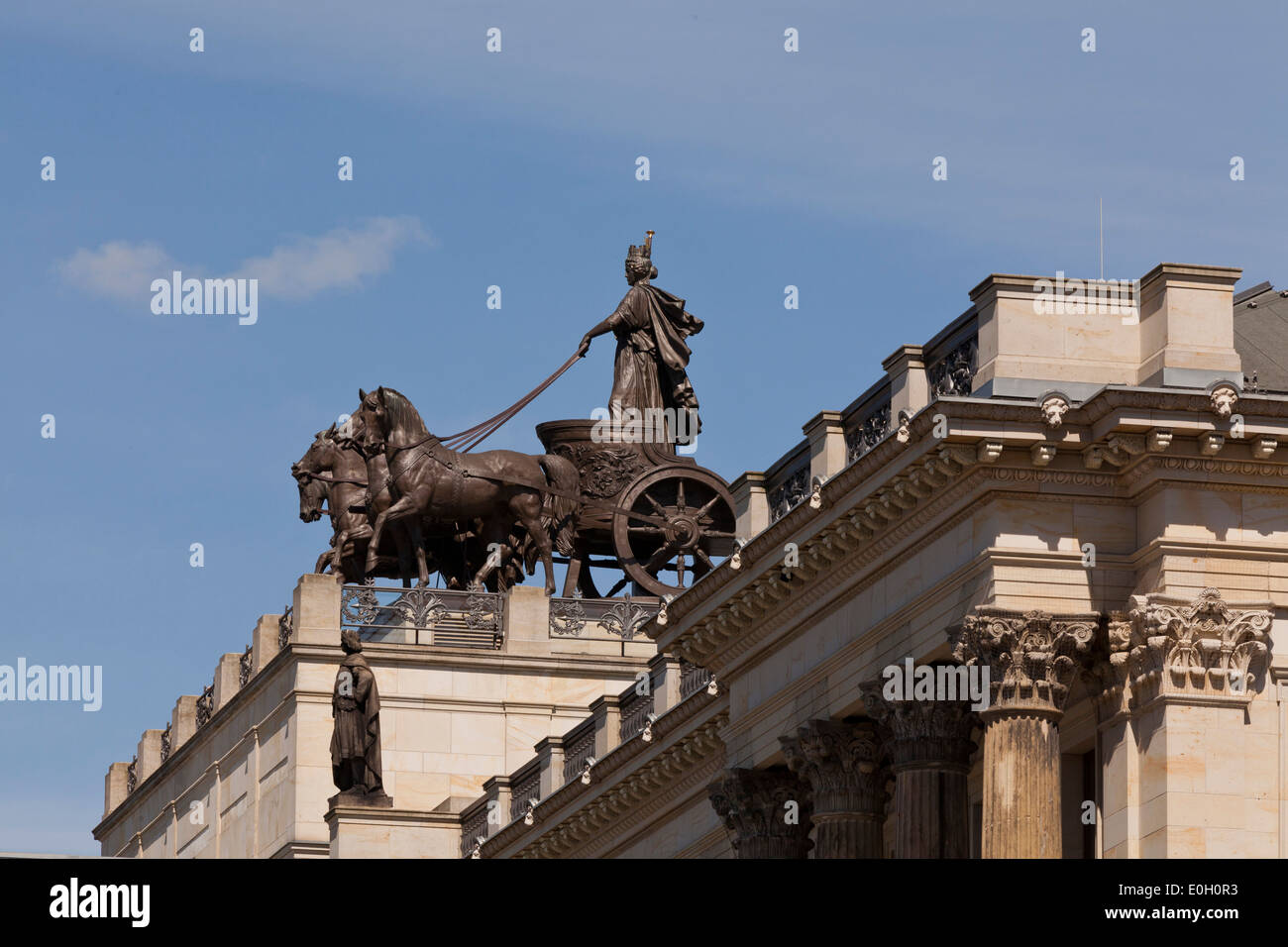 Quadriga on Brunswick Palace, reconstruction of the historic facade after damage during world war II and subsequent demolition, - Stock Image