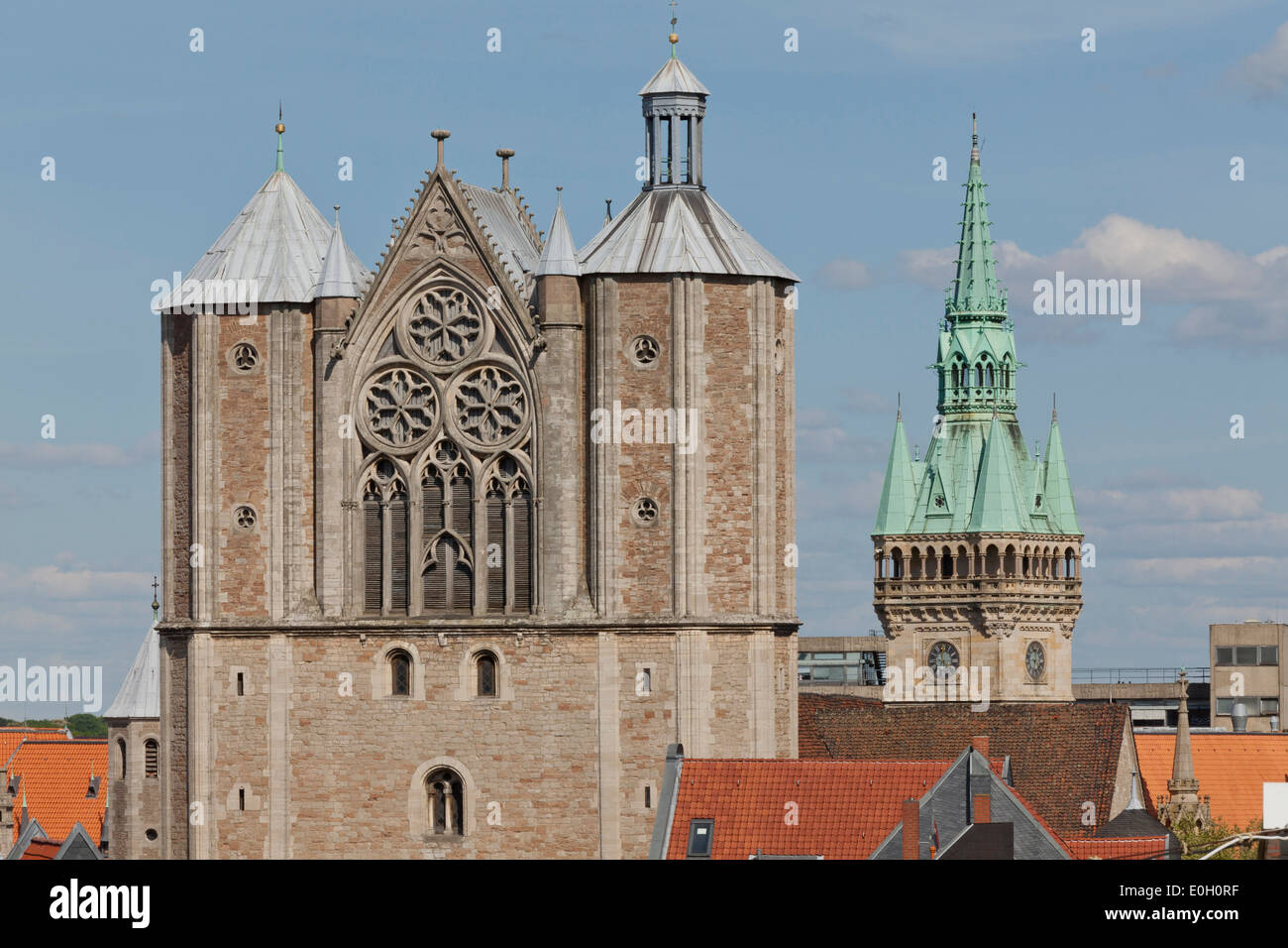 Skyline Brunswick with Brunswick cathedral and town hall, Lower Saxony, Germany - Stock Image