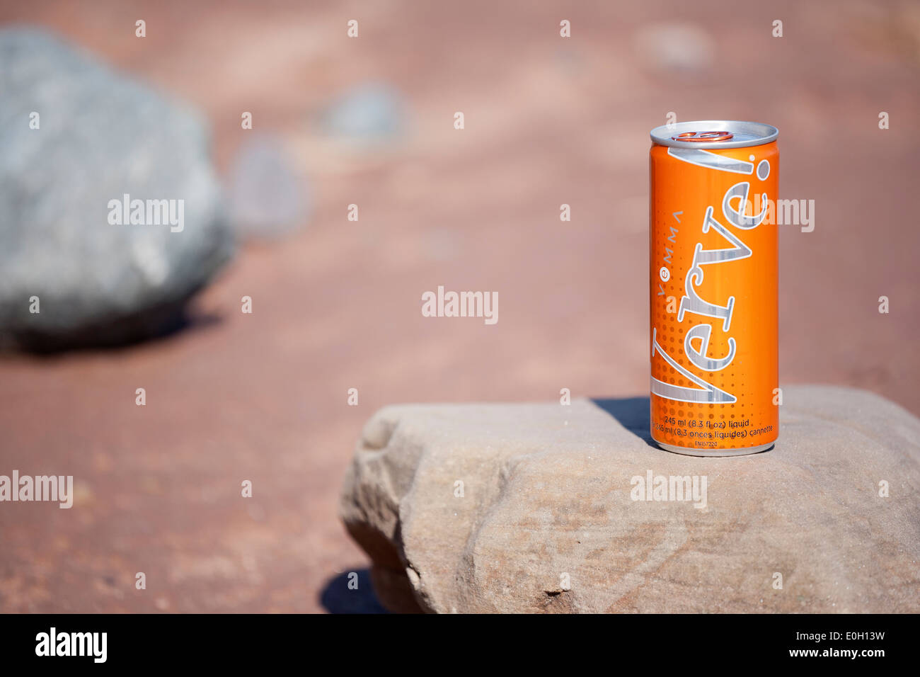 Verve drink can on a rock in the sunshine. Stock Photo