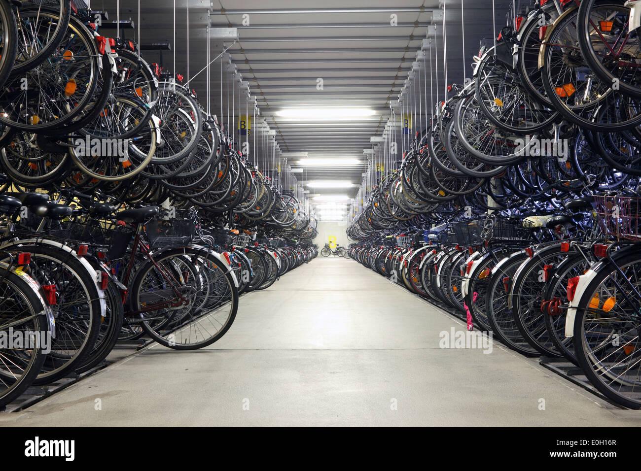 Bicycle garage in Munster. North Rhine-Westphalia, Germany - Stock Image