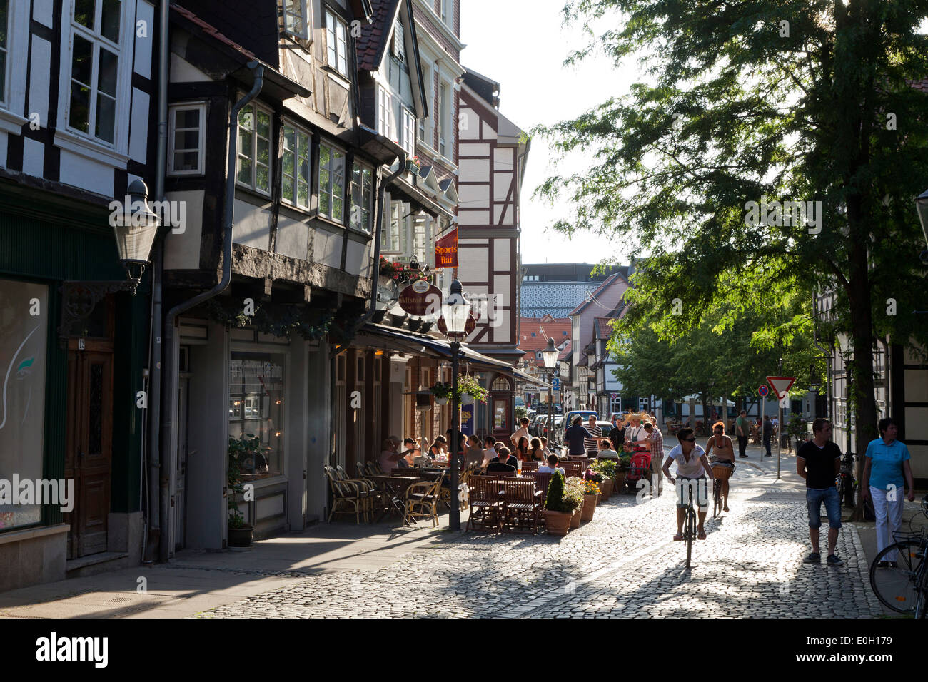 Magni district with historic half-timber houses and cafes, Brunswick, Lower Saxony, Germany - Stock Image