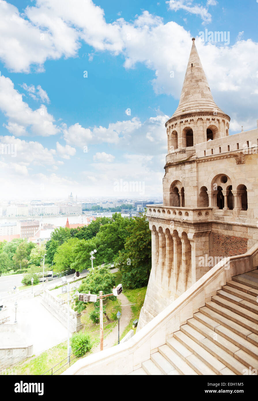 Fisherman's Bastion view in summer, Budapest - Stock Image