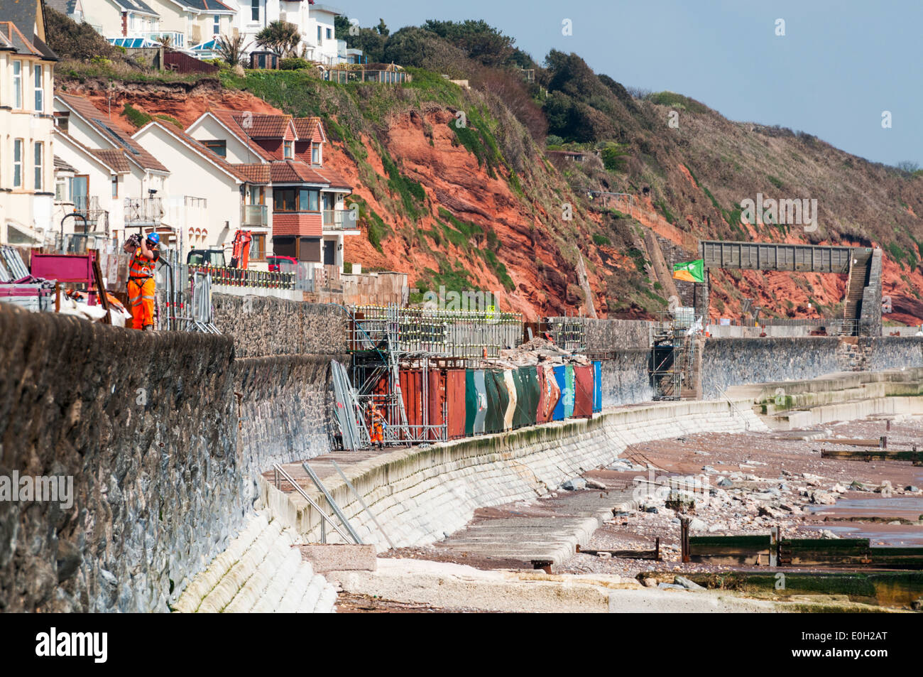 The ongoing construction site at Dawlish repairing the damage caused to the seawall by the winter storms - Stock Image