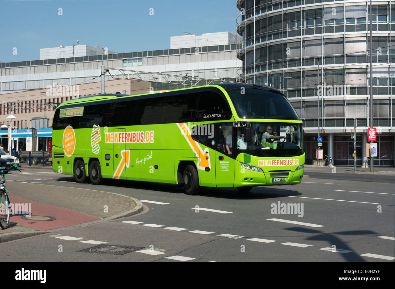 MeinFernbus.com is one of a number of low cost long distance coach franchises that have appeared in Germany recently. - Stock Image