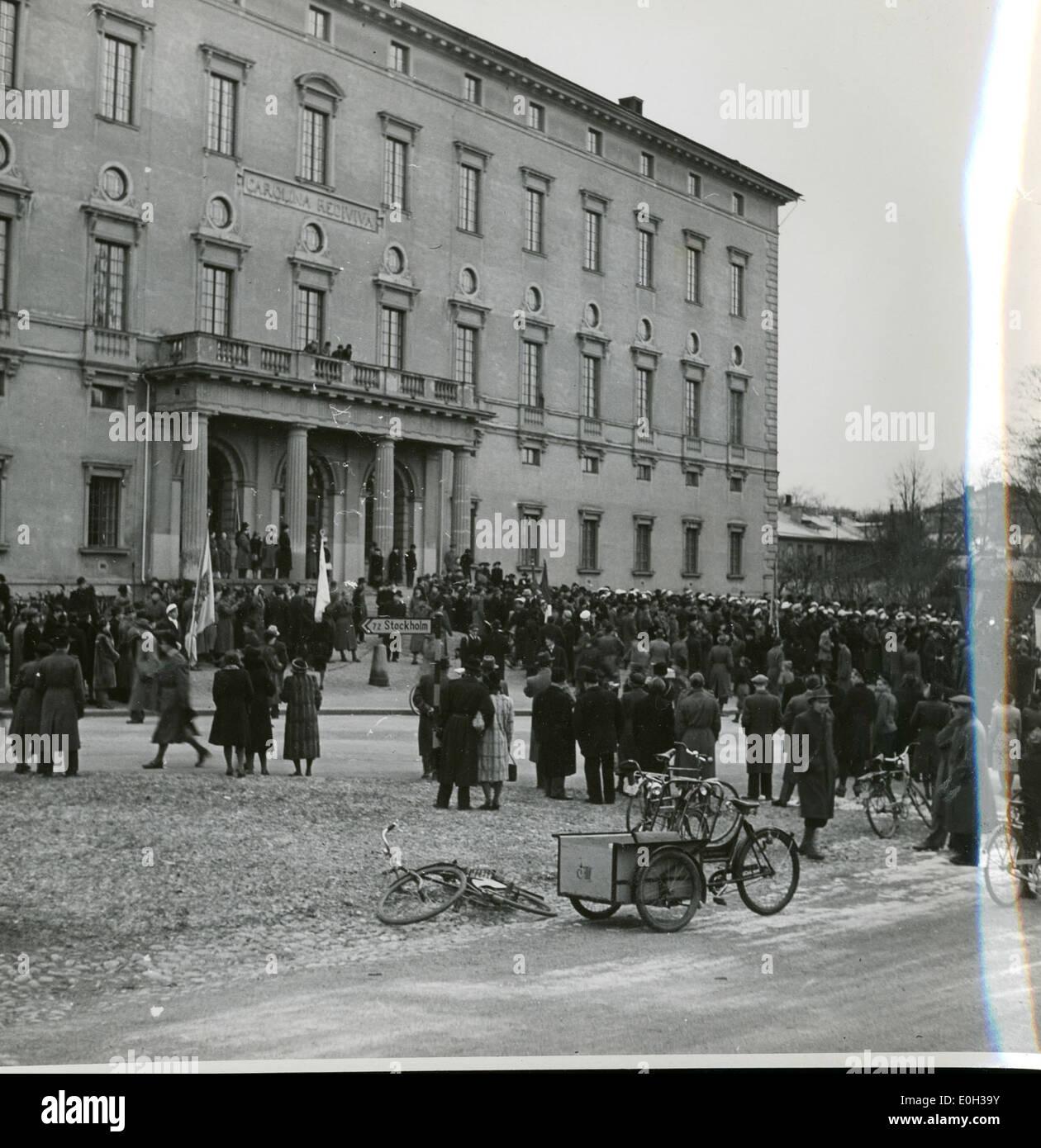 Forlegningene i Uppsala og studentene - Stock Image