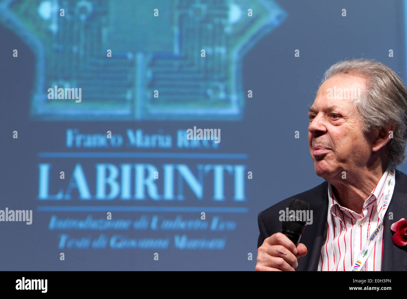 Italian publisher Franco Maria Ricci presents a book about labyrinths during a conference at Torino Book Fair. - Stock Image