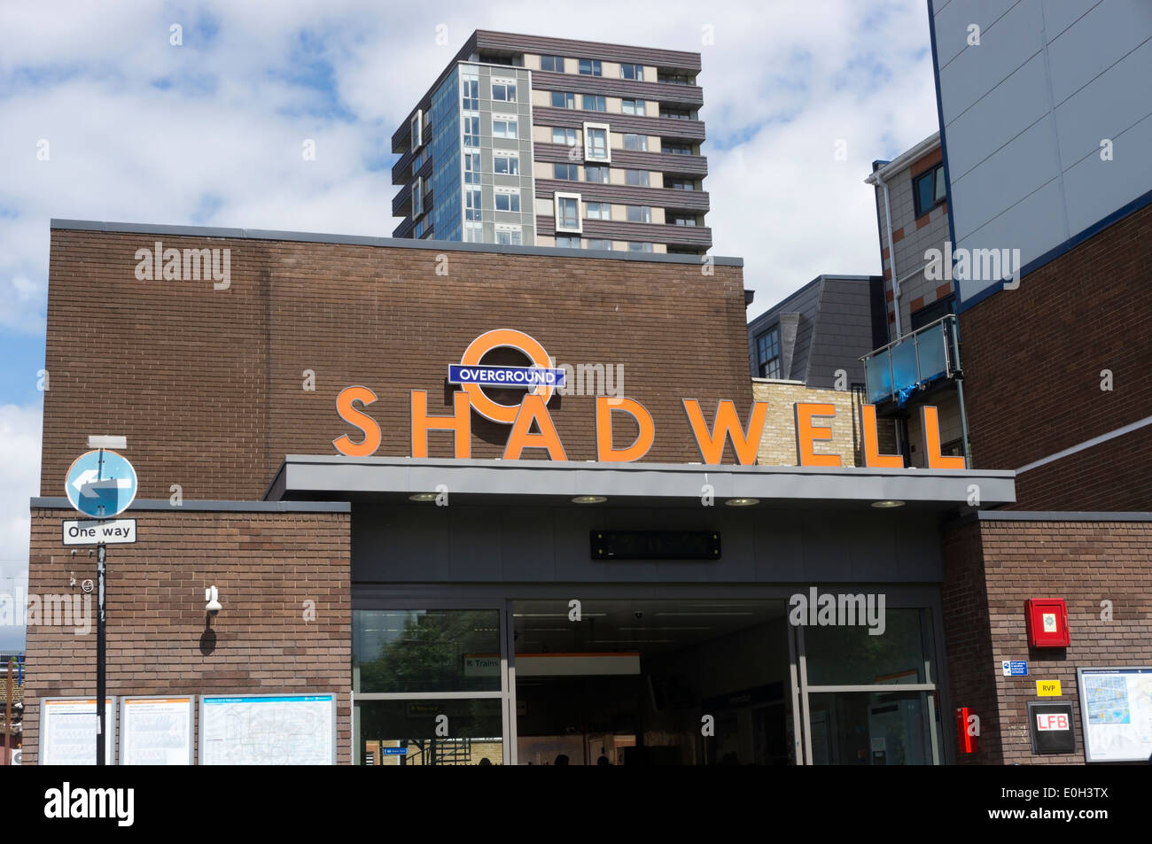 Shadwell station on the London Overground network. - Stock Image