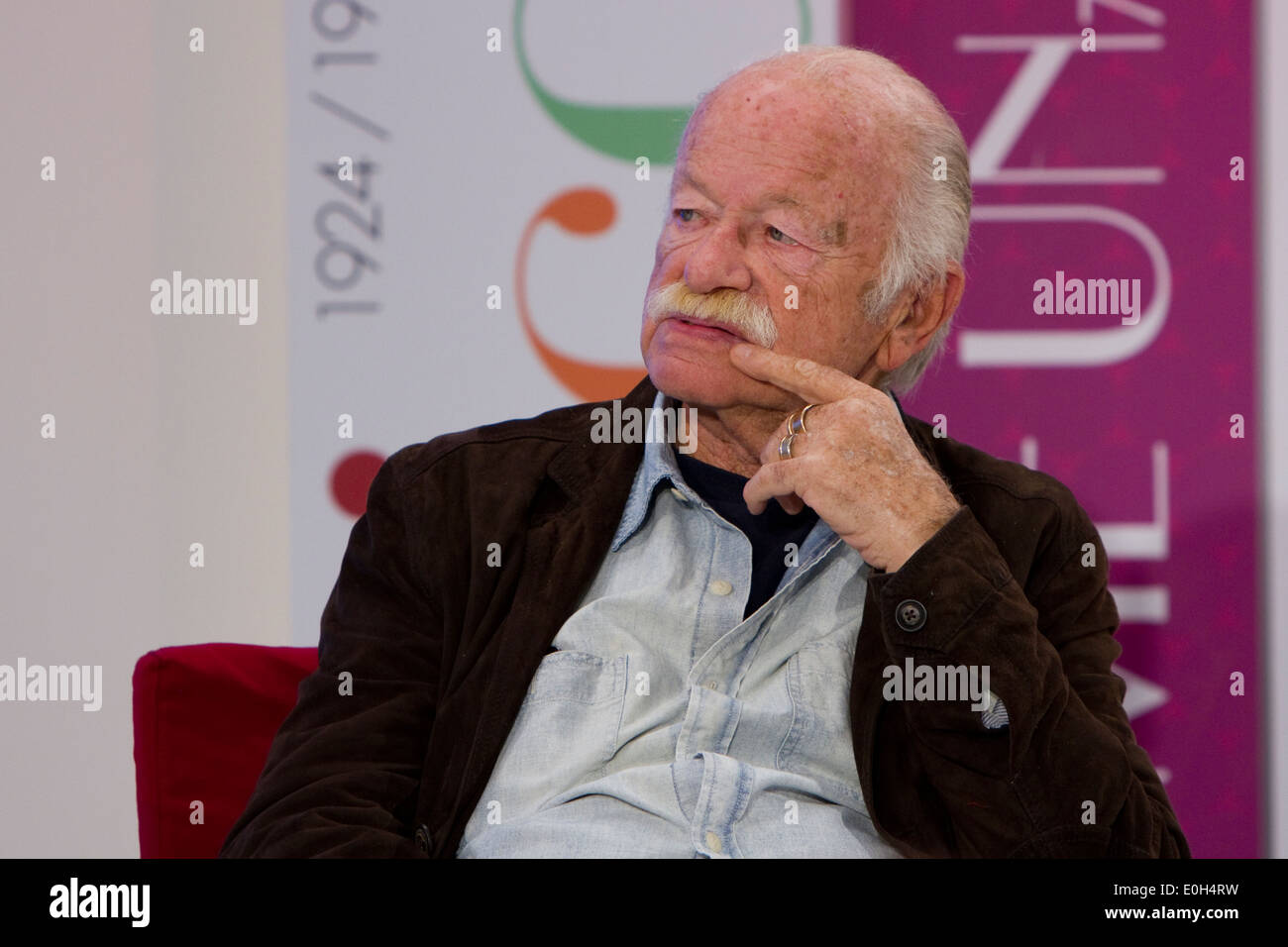 Italian songwriter and singer Gino Paoli is interviewed during Torino Book Fair. Stock Photo