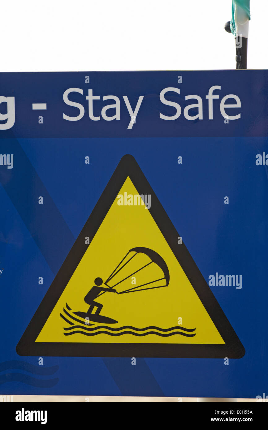 kitesurfers Stay Safe sign at Boscombe beach - Stock Image