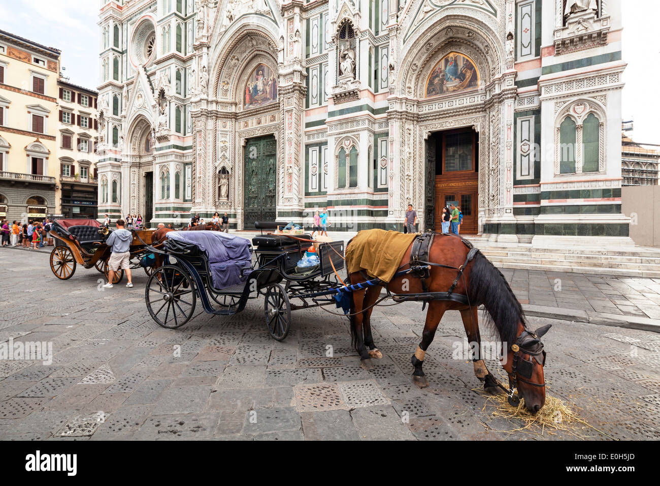 Horse-drawn carriage in front of the Cathedral Santa Maria del Fiore, Florence, Tuscany, Italy, Europe - Stock Image