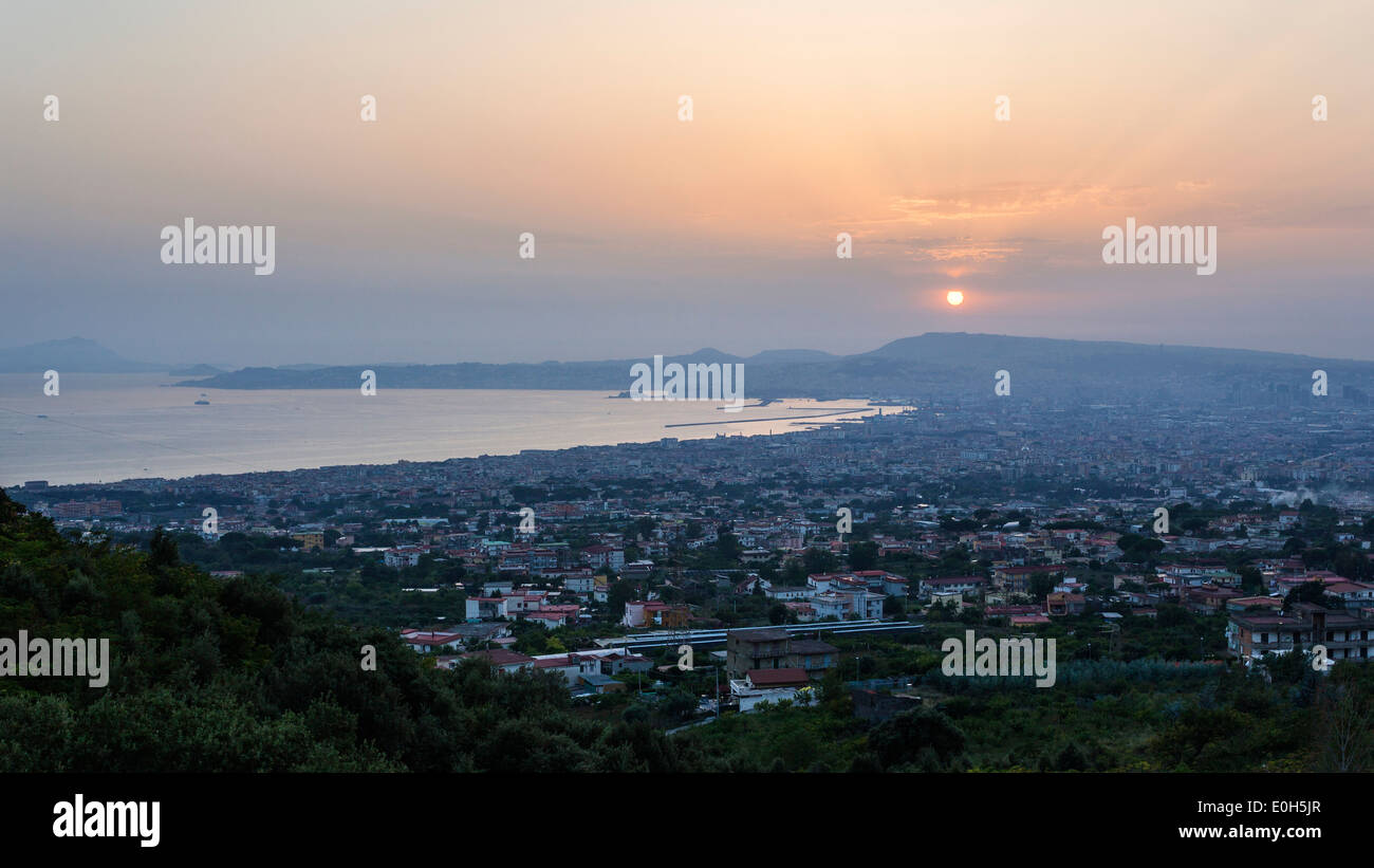 Naples at sunset, Gulf of Naples, Campania, Italy, Europe - Stock Image